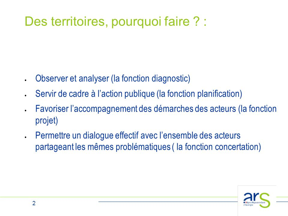 2 Des territoires, pourquoi faire ? :  Observer et analyser (la fonction diagnostic)  Servir de cadre à l'action publique (la fonction planification