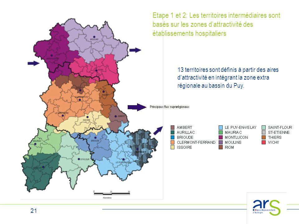 21 13 territoires sont définis à partir des aires d'attractivité en intégrant la zone extra régionale au bassin du Puy. Etape 1 et 2: Les territoires