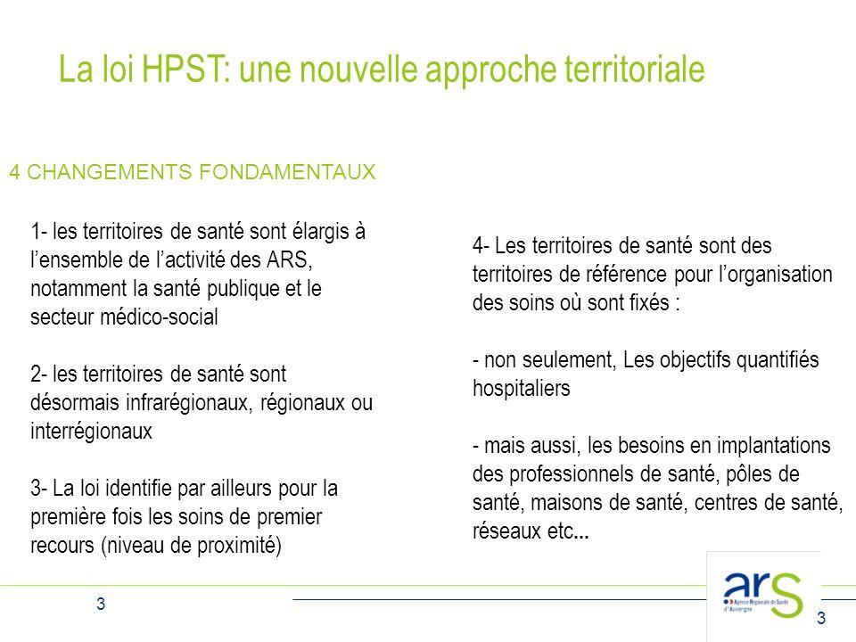 3 3 La loi HPST: une nouvelle approche territoriale 1- les territoires de santé sont élargis à l'ensemble de l'activité des ARS, notamment la santé pu