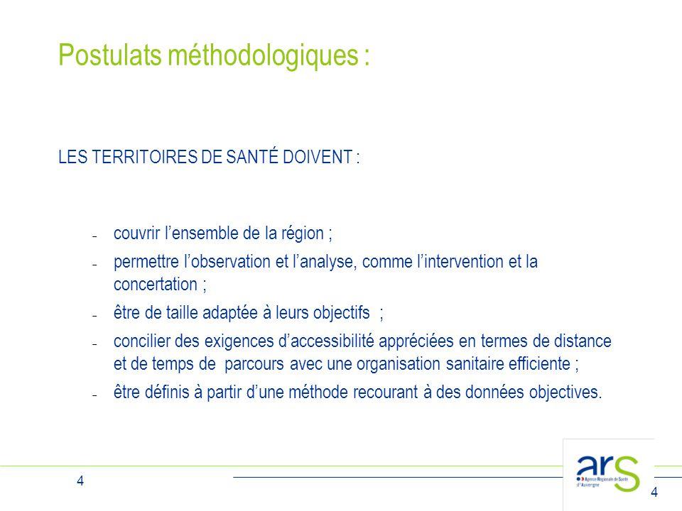 4 4 Postulats méthodologiques : LES TERRITOIRES DE SANTÉ DOIVENT :  couvrir l'ensemble de la région ;  permettre l'observation et l'analyse, comme l