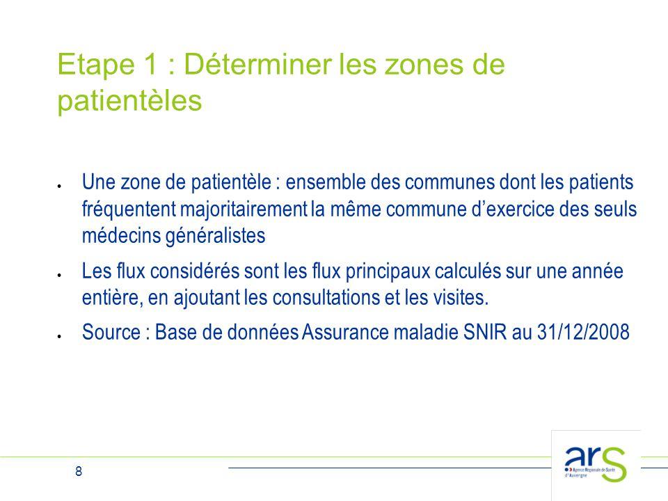 8 Etape 1 : Déterminer les zones de patientèles  Une zone de patientèle : ensemble des communes dont les patients fréquentent majoritairement la même