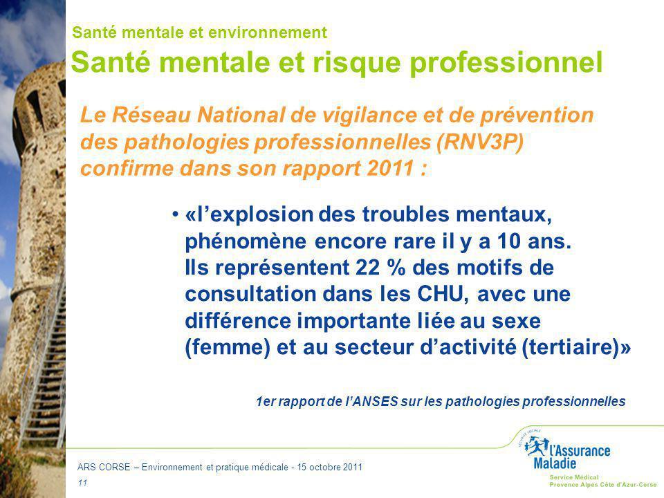 ARS CORSE – Environnement et pratique médicale - 15 octobre 2011 11 Santé mentale et risque professionnel «l'explosion des troubles mentaux, phénomène