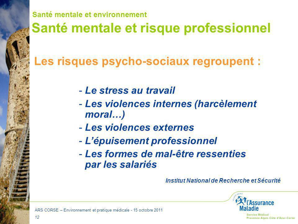ARS CORSE – Environnement et pratique médicale - 15 octobre 2011 12 Santé mentale et risque professionnel Les risques psycho-sociaux regroupent : -Le
