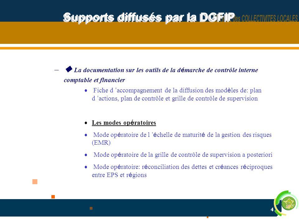 4 Supports diffusés par la DGFIP –  La documentation sur les outils de la d é marche de contrôle interne comptable et financier  Fiche d ' accompagn
