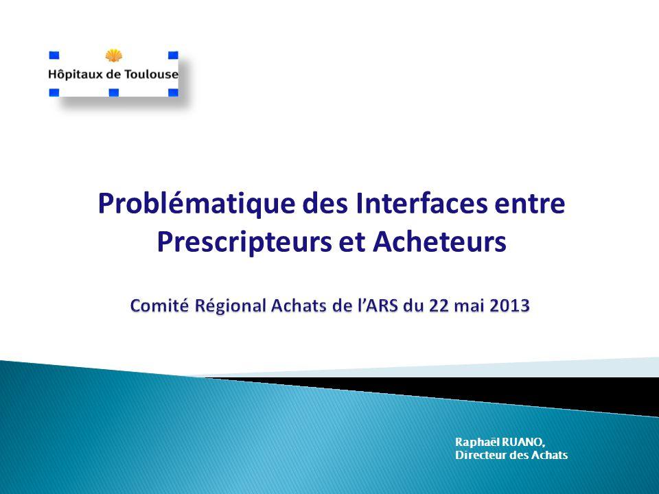 Problématique des Interfaces entre Prescripteurs et Acheteurs Raphaël RUANO, Directeur des Achats