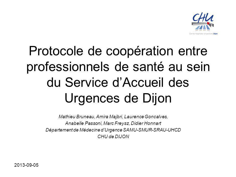 Protocole de coopération entre professionnels de santé au sein du Service d'Accueil des Urgences de Dijon Mathieu Bruneau, Amira Majbri, Laurence Gonc