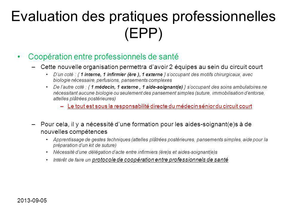 Evaluation des pratiques professionnelles (EPP) Coopération entre professionnels de santé –Cette nouvelle organisation permettra d'avoir 2 équipes au
