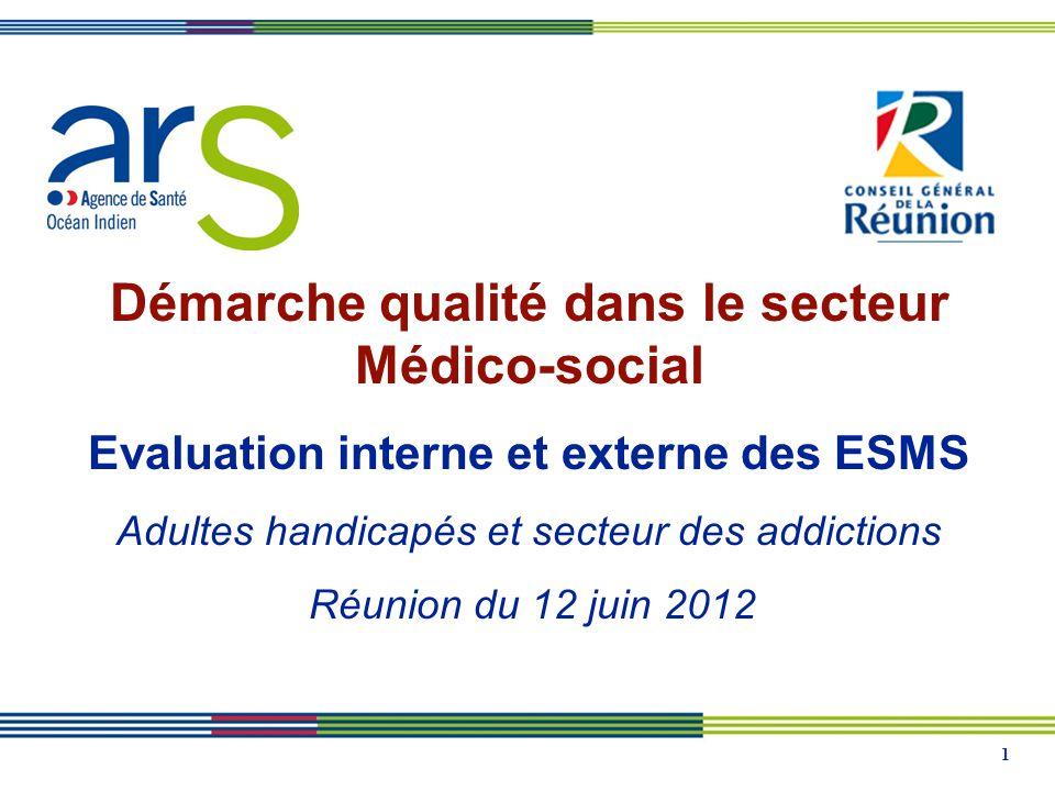 1 Démarche qualité dans le secteur Médico-social Evaluation interne et externe des ESMS Adultes handicapés et secteur des addictions Réunion du 12 juin 2012