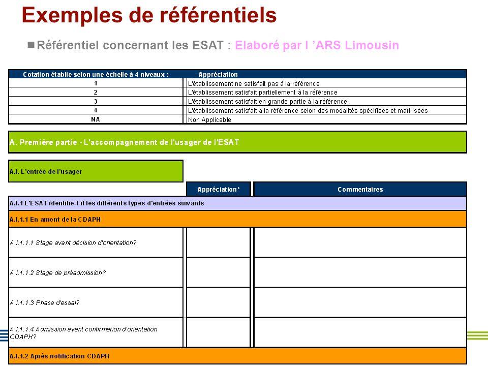 15 Exemples de référentiels  Référentiel concernant les ESAT : Elaboré par l 'ARS Limousin