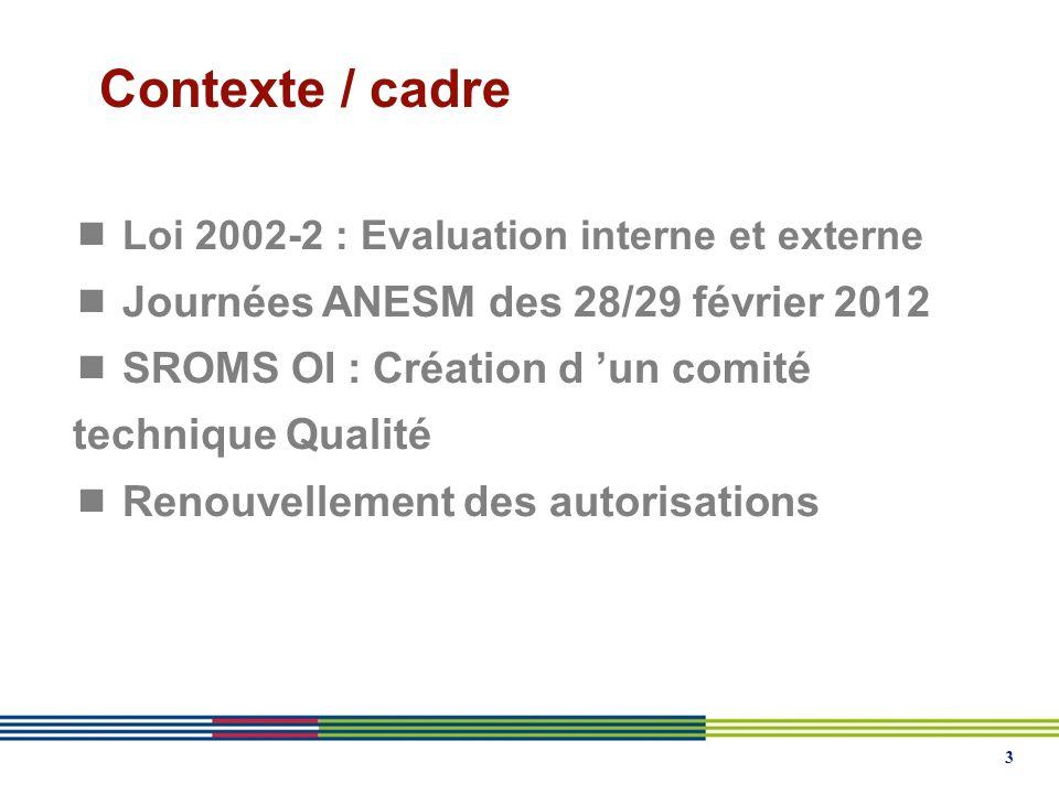 3 Contexte / cadre  Loi 2002-2 : Evaluation interne et externe  Journées ANESM des 28/29 février 2012  SROMS OI : Création d 'un comité technique Qualité  Renouvellement des autorisations