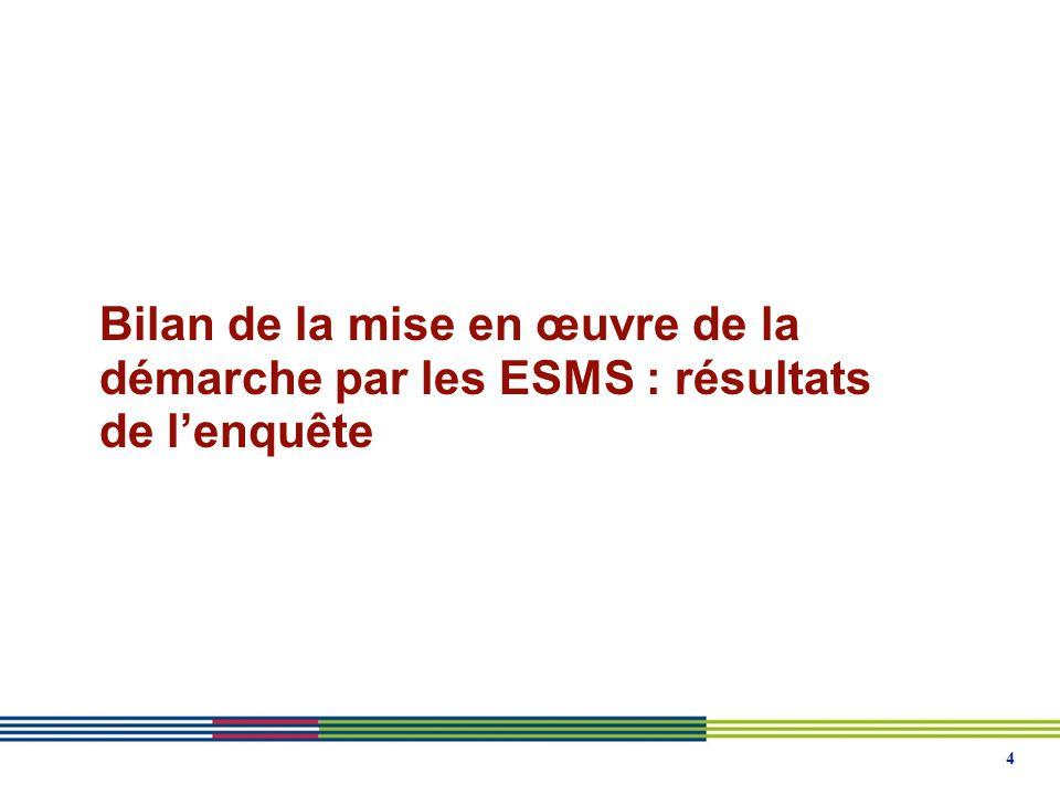 4 Bilan de la mise en œuvre de la démarche par les ESMS : résultats de l'enquête