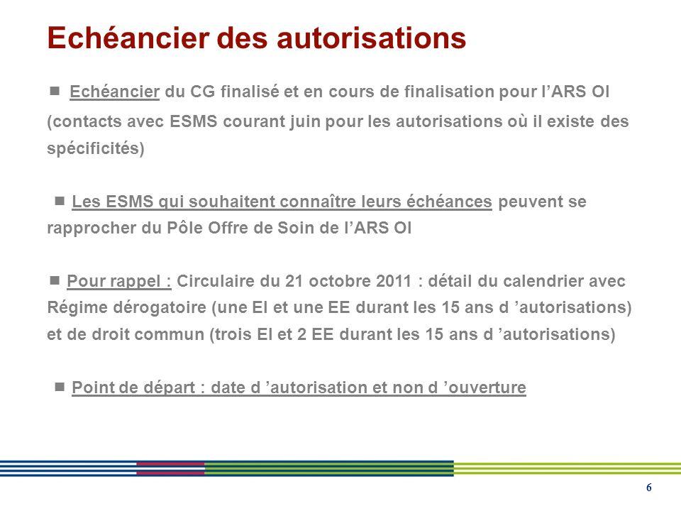 6  Echéancier du CG finalisé et en cours de finalisation pour l'ARS OI (contacts avec ESMS courant juin pour les autorisations où il existe des spécificités)  Les ESMS qui souhaitent connaître leurs échéances peuvent se rapprocher du Pôle Offre de Soin de l'ARS OI  Pour rappel : Circulaire du 21 octobre 2011 : détail du calendrier avec Régime dérogatoire (une EI et une EE durant les 15 ans d 'autorisations) et de droit commun (trois EI et 2 EE durant les 15 ans d 'autorisations)  Point de départ : date d 'autorisation et non d 'ouverture
