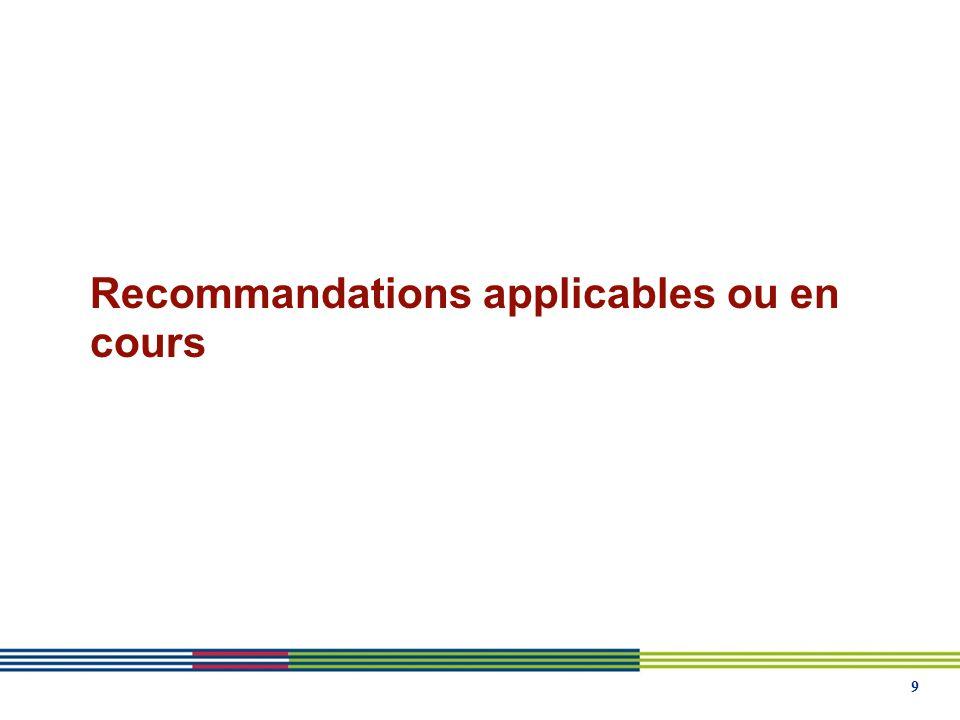 9 Recommandations applicables ou en cours
