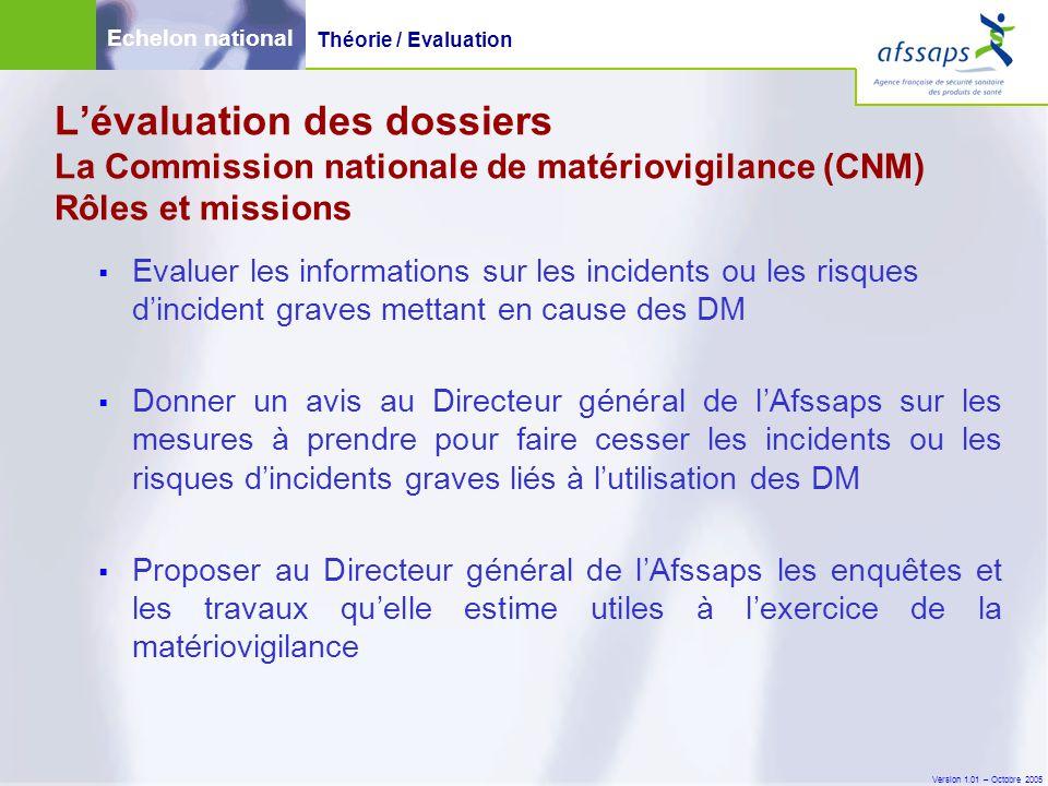 Version 1.01 – Octobre 2005  Evaluer les informations sur les incidents ou les risques d'incident graves mettant en cause des DM  Donner un avis au