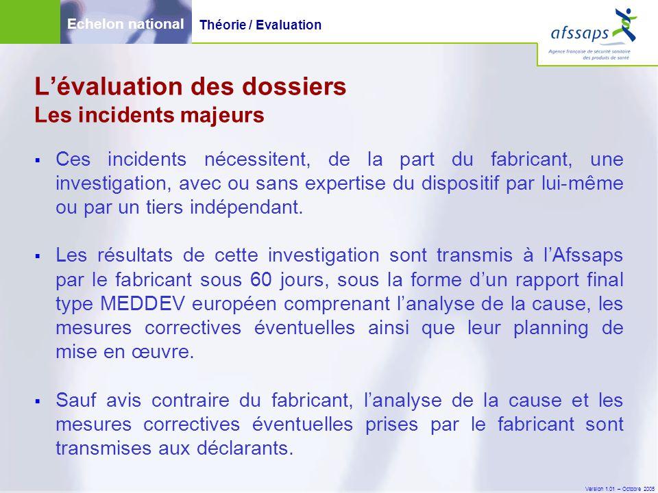 Version 1.01 – Octobre 2005  Ces incidents nécessitent, de la part du fabricant, une investigation, avec ou sans expertise du dispositif par lui-même