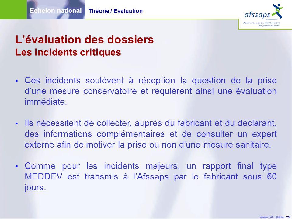 Version 1.01 – Octobre 2005  Ces incidents soulèvent à réception la question de la prise d'une mesure conservatoire et requièrent ainsi une évaluatio