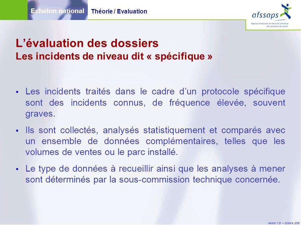 Version 1.01 – Octobre 2005  Les incidents traités dans le cadre d'un protocole spécifique sont des incidents connus, de fréquence élevée, souvent gr