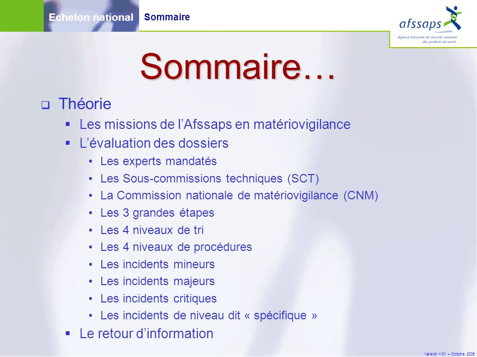 Version 1.01 – Octobre 2005 Echelon national Pratique En Pratique