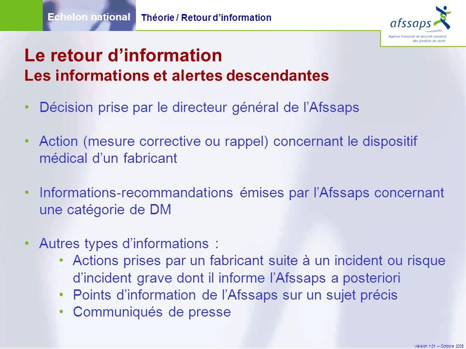 Version 1.01 – Octobre 2005 Le retour d'information Les informations et alertes descendantes Décision prise par le directeur général de l'Afssaps Acti