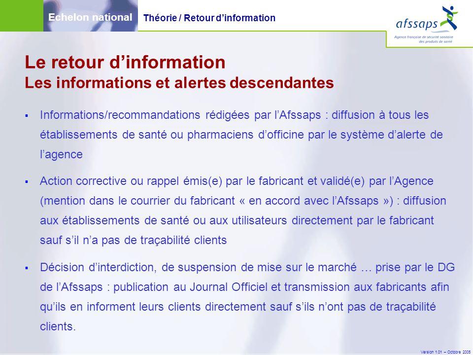 Version 1.01 – Octobre 2005 Le retour d'information Les informations et alertes descendantes  Informations/recommandations rédigées par l'Afssaps : d
