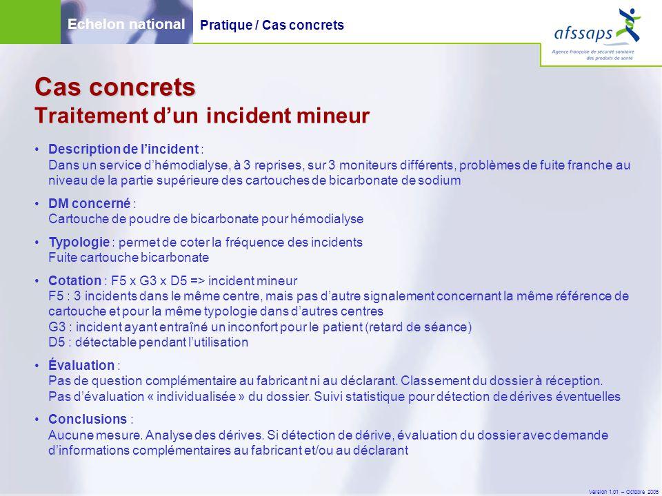 Version 1.01 – Octobre 2005 Cas concrets Cas concrets Traitement d'un incident mineur Description de l'incident : Dans un service d'hémodialyse, à 3 r
