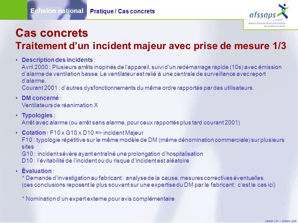 Version 1.01 – Octobre 2005 Cas concrets Cas concrets Traitement d'un incident majeur avec prise de mesure 1/3 Description des incidents : Avril 2000