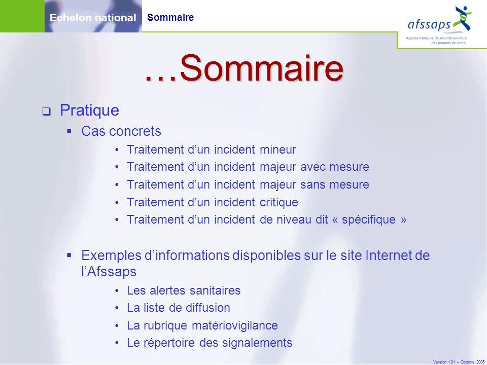 Version 1.01 – Octobre 2005 Sommaire  Pratique  Cas concrets Traitement d'un incident mineur Traitement d'un incident majeur avec mesure Traitement