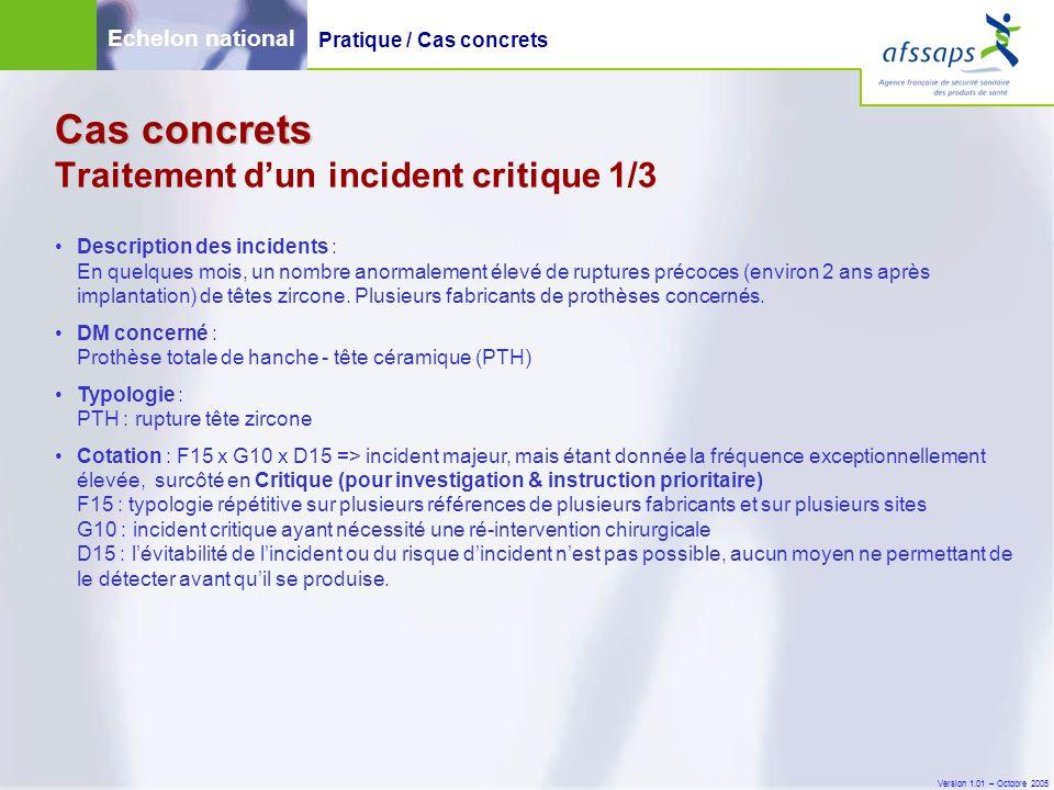 Version 1.01 – Octobre 2005 Cas concrets Cas concrets Traitement d'un incident critique 1/3 Description des incidents : En quelques mois, un nombre an