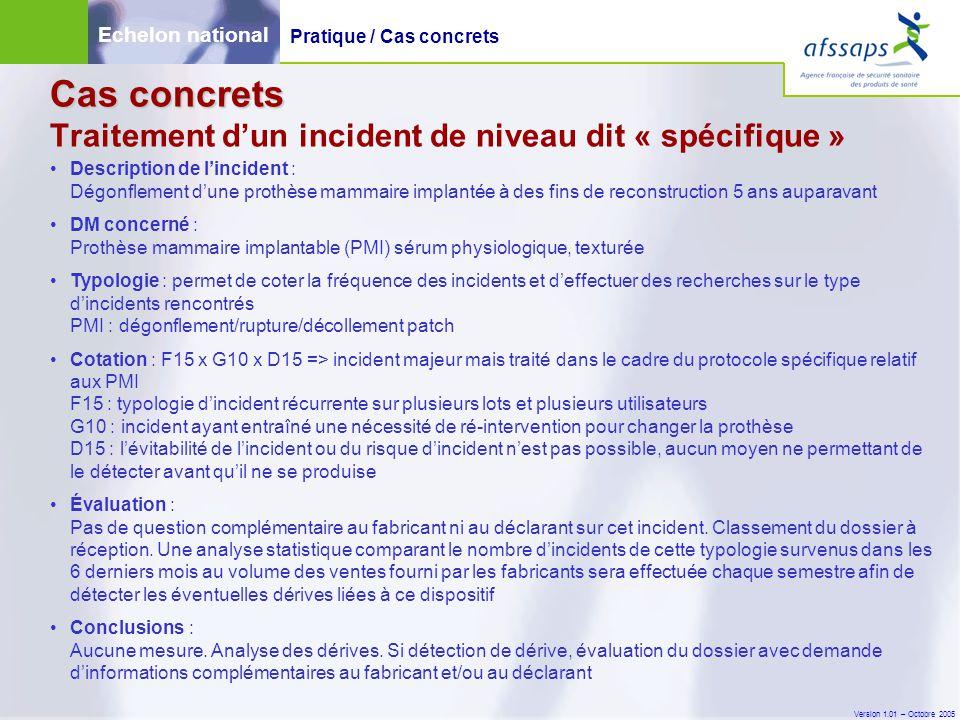 Version 1.01 – Octobre 2005 Cas concrets Cas concrets Traitement d'un incident de niveau dit « spécifique » Description de l'incident : Dégonflement d
