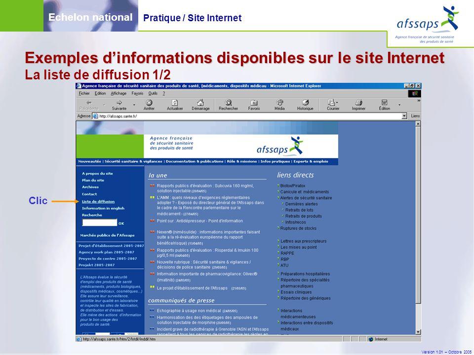 Version 1.01 – Octobre 2005 Exemples d'informations disponibles sur le site Internet Exemples d'informations disponibles sur le site Internet La liste