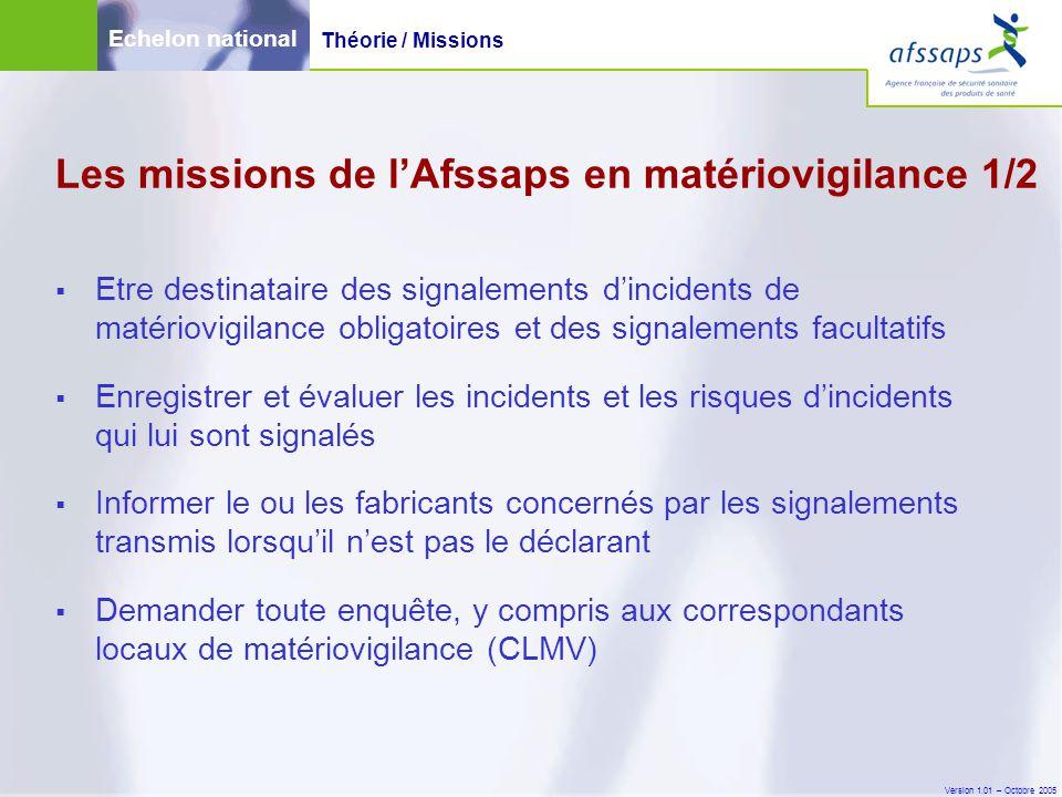 Version 1.01 – Octobre 2005  Etre destinataire des signalements d'incidents de matériovigilance obligatoires et des signalements facultatifs  Enregi