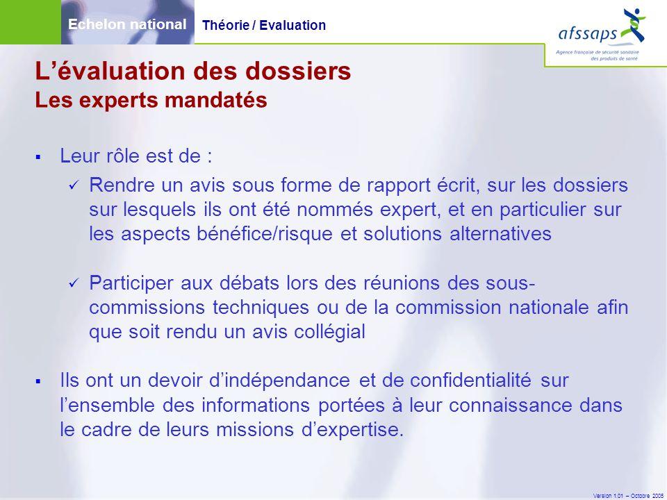Version 1.01 – Octobre 2005  Leur rôle est de : Rendre un avis sous forme de rapport écrit, sur les dossiers sur lesquels ils ont été nommés expert,