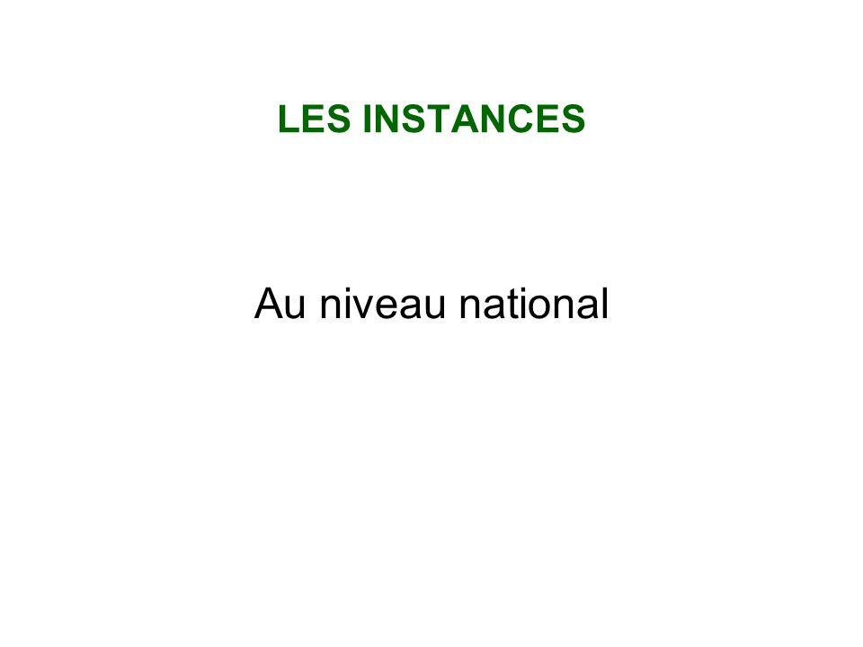 LES INSTANCES Au niveau national