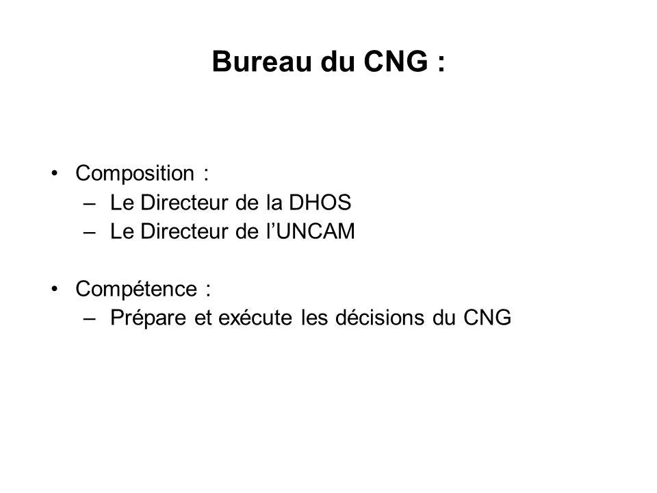 Bureau du CNG : Composition : – Le Directeur de la DHOS – Le Directeur de l'UNCAM Compétence : – Prépare et exécute les décisions du CNG