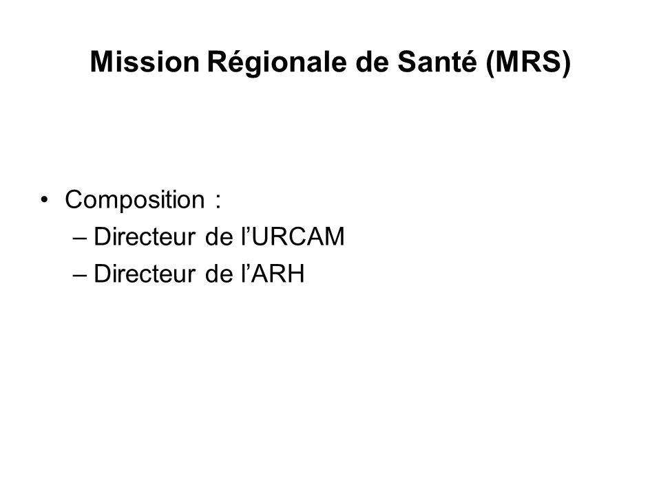 Mission Régionale de Santé (MRS) Composition : –Directeur de l'URCAM –Directeur de l'ARH