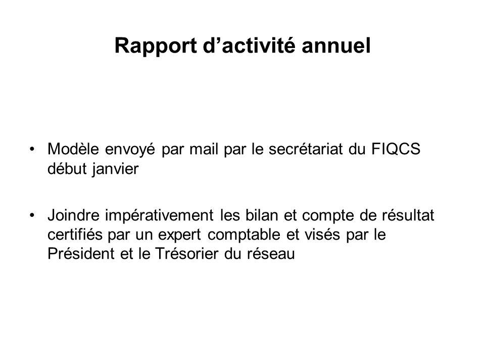 Rapport d'activité annuel Modèle envoyé par mail par le secrétariat du FIQCS début janvier Joindre impérativement les bilan et compte de résultat certifiés par un expert comptable et visés par le Président et le Trésorier du réseau