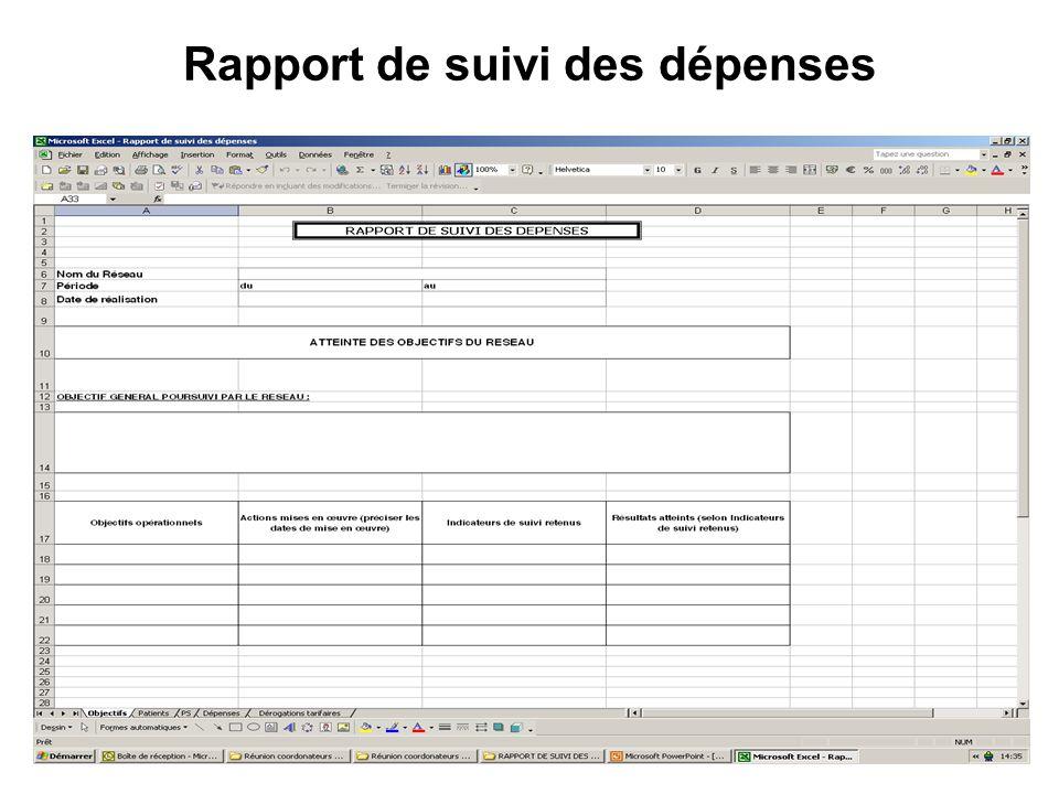 Rapport de suivi des dépenses