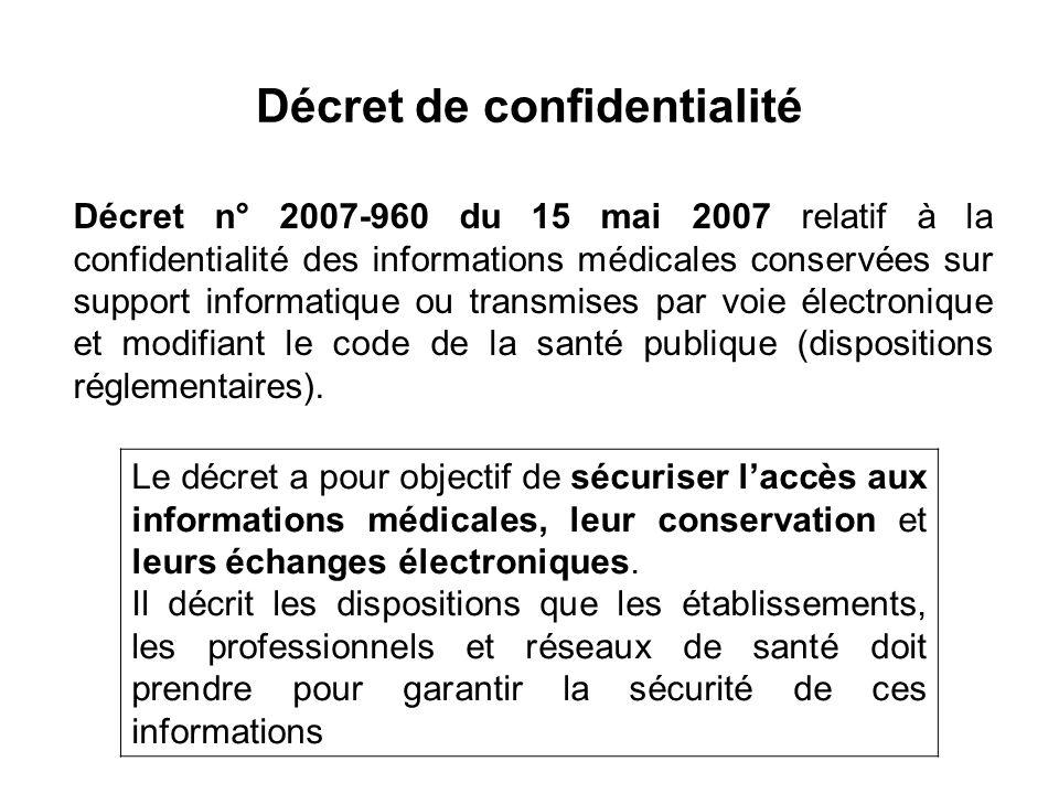 Décret de confidentialité Décret n° 2007-960 du 15 mai 2007 relatif à la confidentialité des informations médicales conservées sur support informatique ou transmises par voie électronique et modifiant le code de la santé publique (dispositions réglementaires).