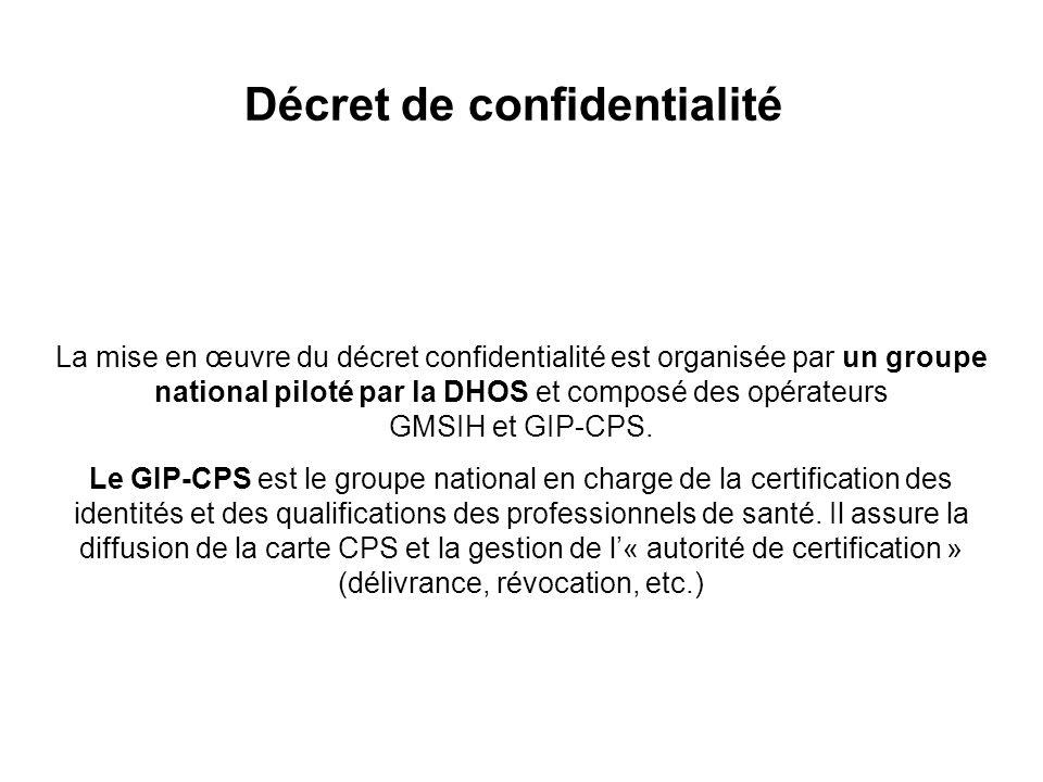 La mise en œuvre du décret confidentialité est organisée par un groupe national piloté par la DHOS et composé des opérateurs GMSIH et GIP-CPS.