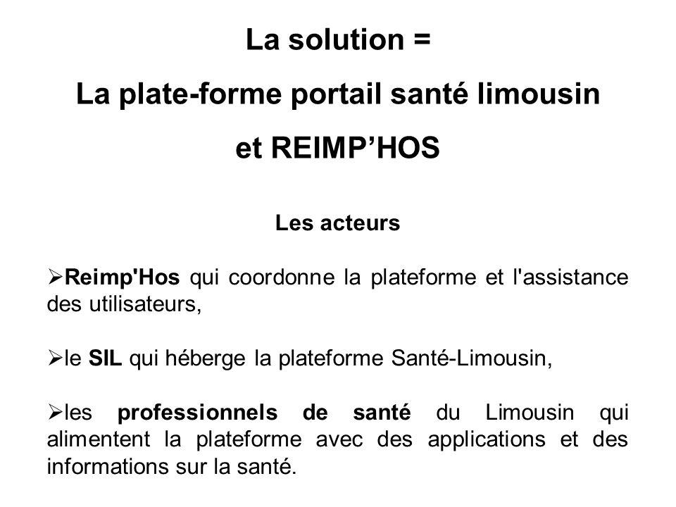 Les acteurs  Reimp Hos qui coordonne la plateforme et l assistance des utilisateurs,  le SIL qui héberge la plateforme Santé-Limousin,  les professionnels de santé du Limousin qui alimentent la plateforme avec des applications et des informations sur la santé.