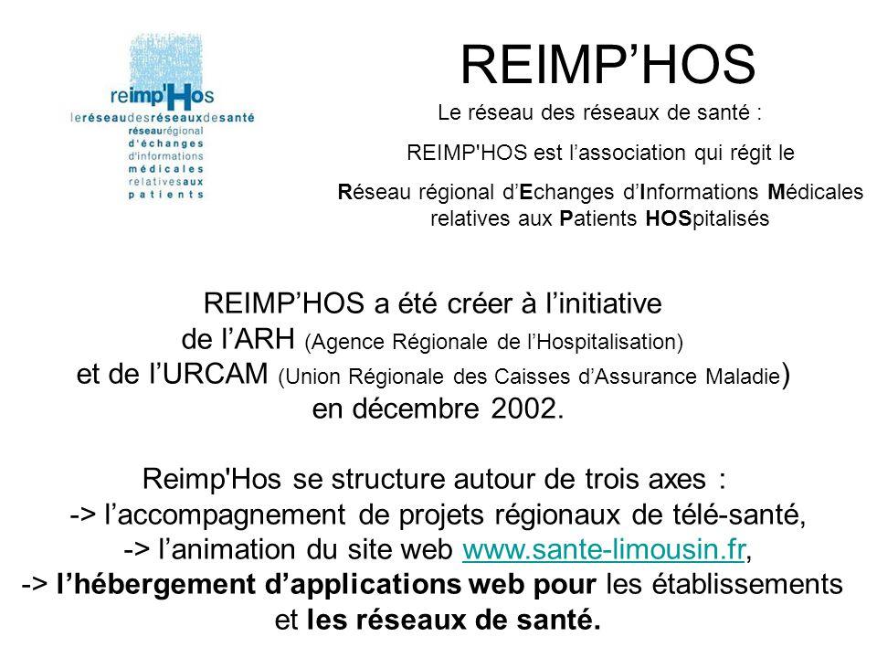 REIMP'HOS Le réseau des réseaux de santé : REIMP HOS est l'association qui régit le Réseau régional d'Echanges d'Informations Médicales relatives aux Patients HOSpitalisés REIMP'HOS a été créer à l'initiative de l'ARH (Agence Régionale de l'Hospitalisation) et de l'URCAM (Union Régionale des Caisses d'Assurance Maladie ) en décembre 2002.