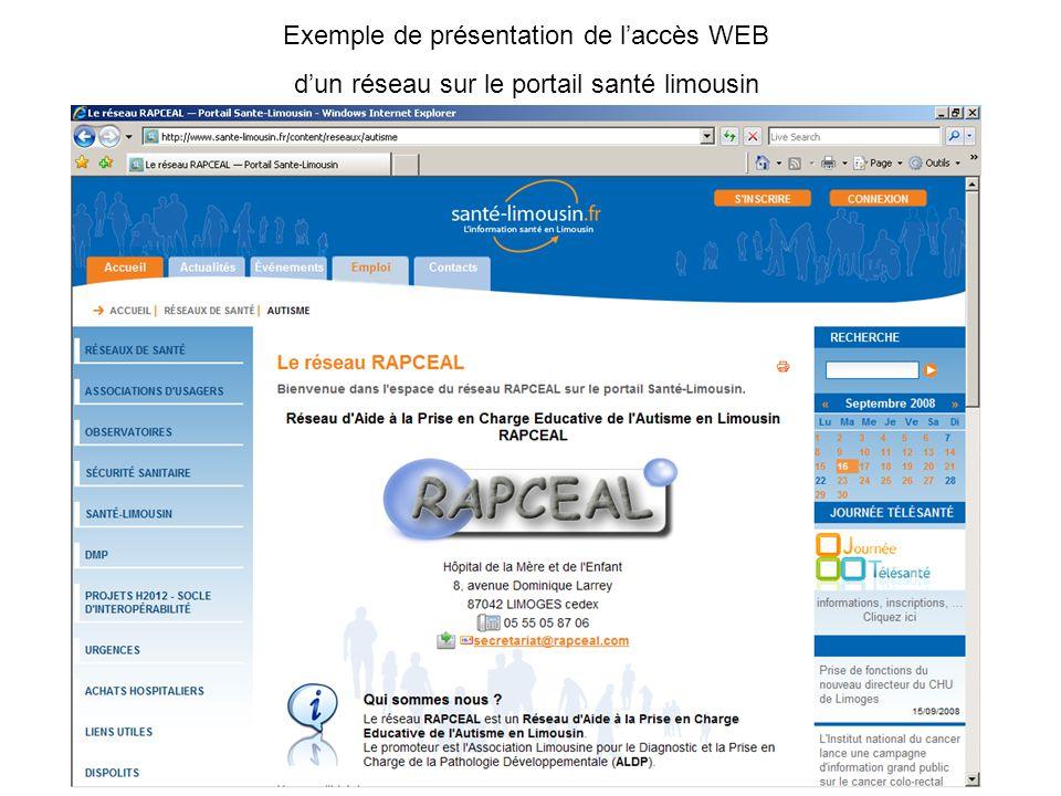 Exemple de présentation de l'accès WEB d'un réseau sur le portail santé limousin