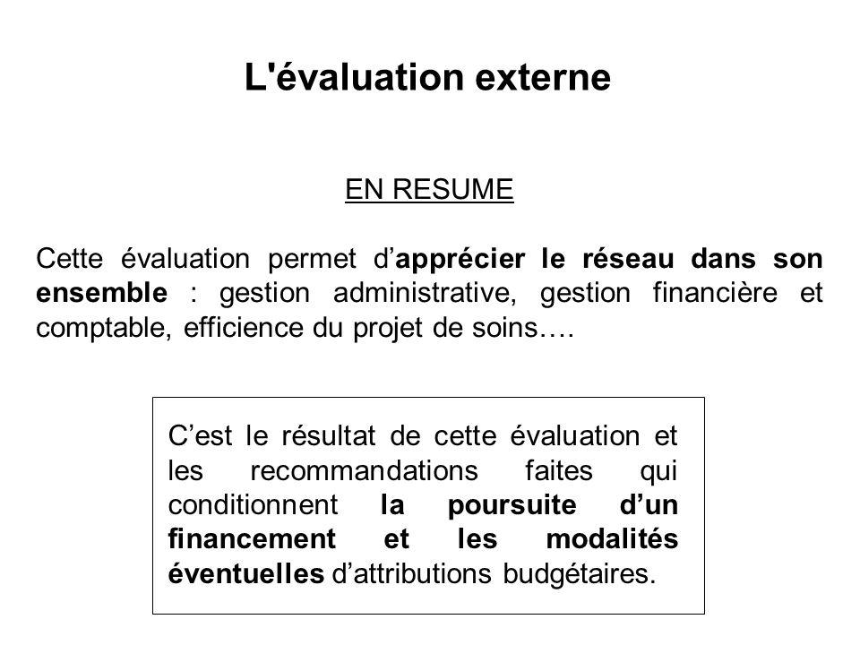 EN RESUME Cette évaluation permet d'apprécier le réseau dans son ensemble : gestion administrative, gestion financière et comptable, efficience du projet de soins….