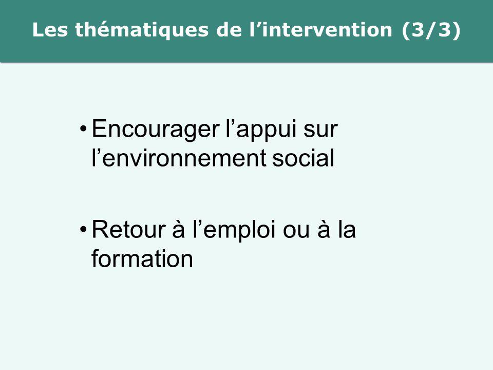 Les thématiques de l'intervention (3/3) Encourager l'appui sur l'environnement social Retour à l'emploi ou à la formation