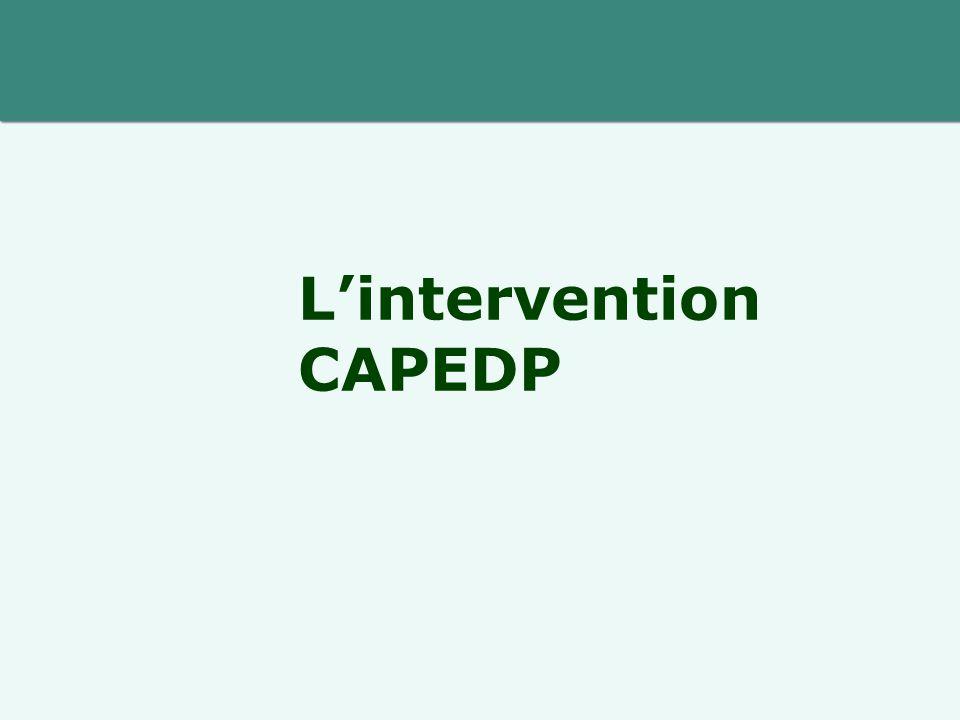  Anticiper ou rencontrer la demande  Intervention à domicile  Intervention précoce (< 27e semaine de grossesse)  Intervention soutenue (2 à 4 x/mois pendant la 1ere année)  Intervention durable (27 mois d'intervention)  Intervention manualisée et supervisée  Intervention évaluée CAPEDP : une intervention spécifique