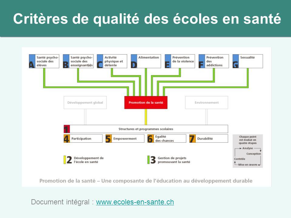 Document intégral : www.ecoles-en-sante.chwww.ecoles-en-sante.ch Critères de qualité des écoles en santé