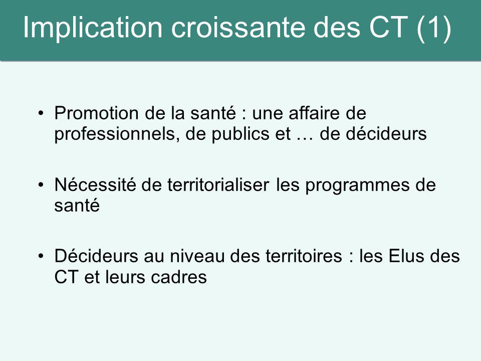 Implication croissante des CT (1) Promotion de la santé : une affaire de professionnels, de publics et … de décideurs Nécessité de territorialiser les
