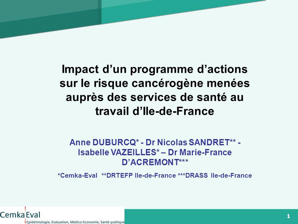 1 1 Logo Impact d'un programme d'actions sur le risque cancérogène menées auprès des services de santé au travail d'Ile-de-France Anne DUBURCQ* - Dr Nicolas SANDRET** - Isabelle VAZEILLES* – Dr Marie-France D'ACREMONT*** *Cemka-Eval **DRTEFP Ile-de-France ***DRASS Ile-de-France