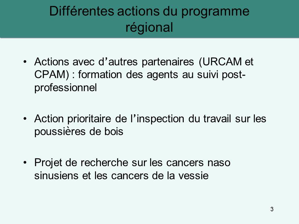3 Différentes actions du programme régional Actions avec d ' autres partenaires (URCAM et CPAM) : formation des agents au suivi post- professionnel Action prioritaire de l ' inspection du travail sur les poussi è res de bois Projet de recherche sur les cancers naso sinusiens et les cancers de la vessie