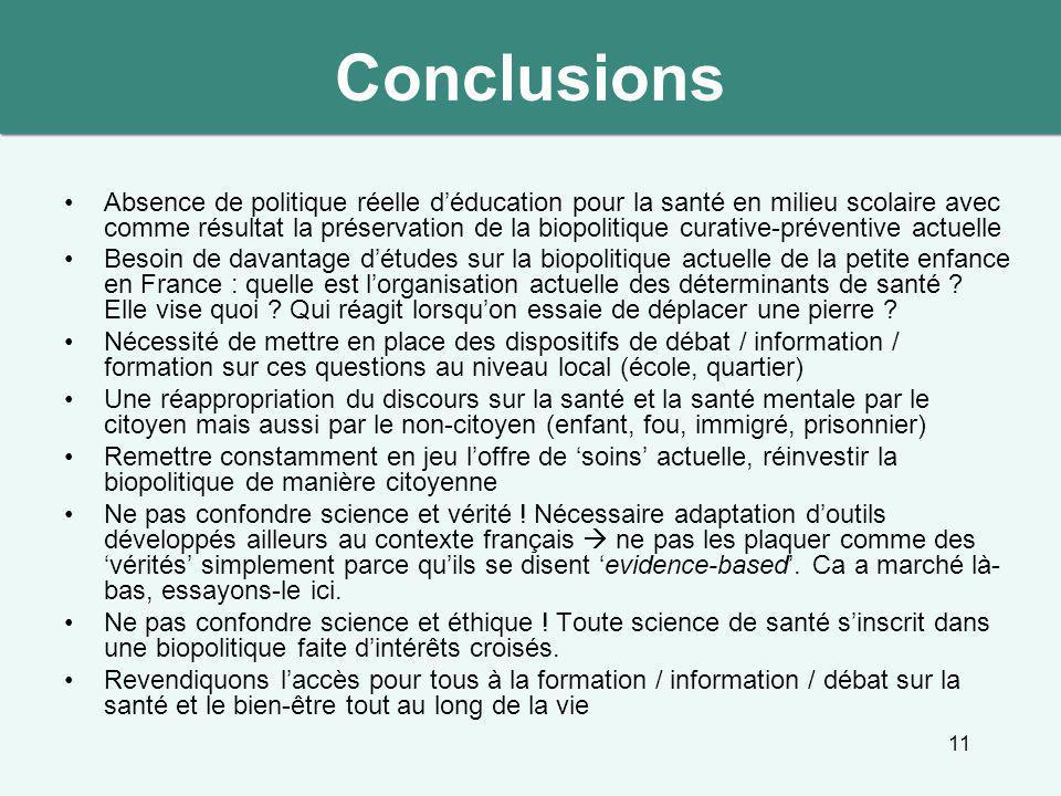 11 Conclusions Absence de politique réelle d'éducation pour la santé en milieu scolaire avec comme résultat la préservation de la biopolitique curativ